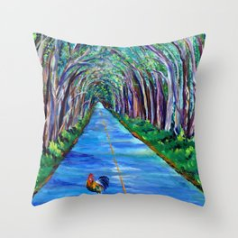 Tree Tunnel with Rooster Throw Pillow
