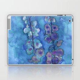 Blue Hollyhock Foxglove Minimalist Watercolor Laptop & iPad Skin