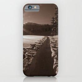 B&W Sunrise Backcountry Ski // Black and White Skin Track to Snowy Paradise iPhone Case