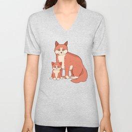 Mother Cat and Kitten Mother's Day Gift Idea Unisex V-Neck