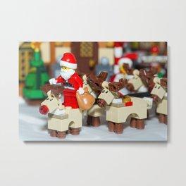 Santa Prepares reindeers Metal Print