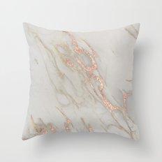 Marble - Rose Gold Marble Metallic Blush Pink Throw Pillow