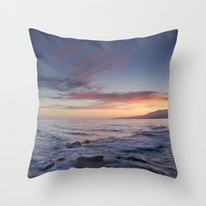 Waves and sunset Throw Pillow