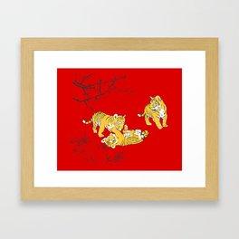 Oriental mini tigers Framed Art Print