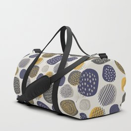 Abstract Circles in Mustard, Charcoal, and Navy Duffle Bag