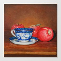Teacup with Three Apples Canvas Print