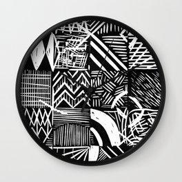 Grid lino print Wall Clock