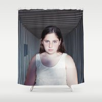 vertigo Shower Curtains featuring Vertigo by emmacanfield