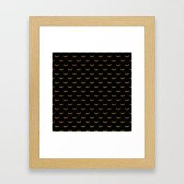 Golden Dragonfly Repeat Gold Metallic Foil on Black Framed Art Print