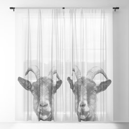 Black and White Goat Sheer Curtain