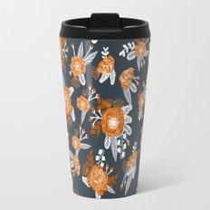 Texas longhorns orange and white university college texan football floral pattern Travel Mug