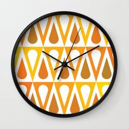 Geometric Pattern #57 (orange teardrop triangles) Wall Clock