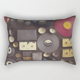 Music. Vintage wall with vinyl records and audio cassettes hung. Rectangular Pillow