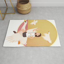 Fly Girl And White Swan Rug