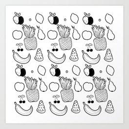 white/black fruit Art Print