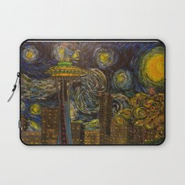 Dedication to Van Gogh: Seattle Starry Night Laptop Sleeve
