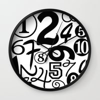 numbers Wall Clocks featuring Numbers by Sweet Colors Gallery