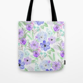 Hand painted lavender lilac blue watercolor flowers Tote Bag