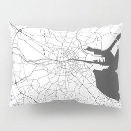 White on Grey Dublin Street Map Pillow Sham