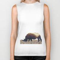 rhino Biker Tanks featuring Rhino by Yaroslav Greb