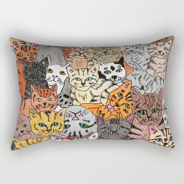 Cats, cats and more cats Rectangular Pillow