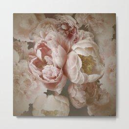 Big Roses And Peonies Soft Pink Vintage Botanical Garden Metal Print