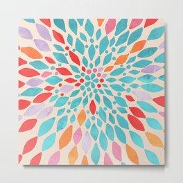 Radiant Dahlia - teal, orange, coral, pink watercolor pattern Metal Print
