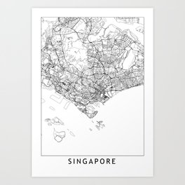 Singapore White Map Art Print