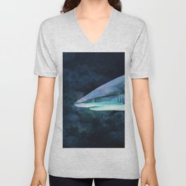 Gray Shark Head (Color) Unisex V-Neck