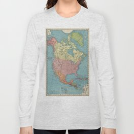 Vintage Map of North America (1903) Long Sleeve T-shirt
