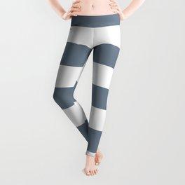 Slate gray - solid color - white stripes pattern Leggings