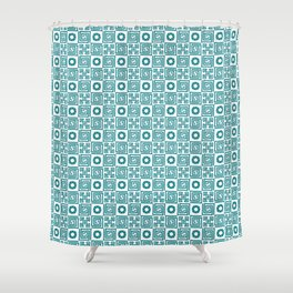 Lines and shapes - Dark Teal Shower Curtain