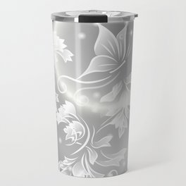 Floral Butterfly Silver Travel Mug