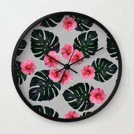 Tropical pattern n.1 - grey Wall Clock
