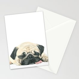 Nap Pug, Dog illustration original painting print Stationery Cards
