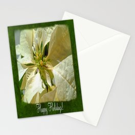 Pale Yellow Poinsettia 1 Happy Holidays P1F1 Stationery Cards