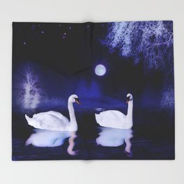 Swan lake at midnight Throw Blanket