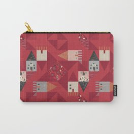 Little houses quilt with red ditsy flowers Carry-All Pouch