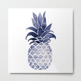 Watercolor pineapple monchrome Metal Print