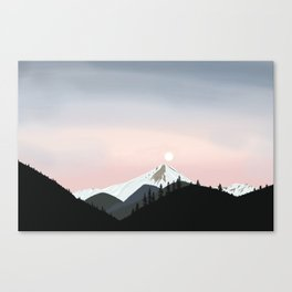 Full Moon Sunrise in the Mountains Canvas Print