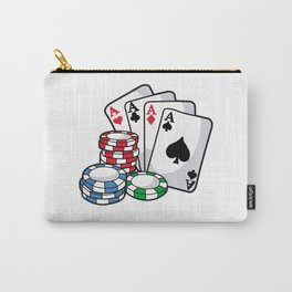 POKER CARDS AND CHIPS Texas Holdem Casino Vegas Carry-All Pouch