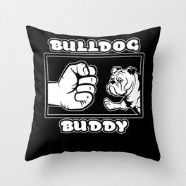 French Bulldog Buddy Forever Fist Bump Peggy Pug Throw Pillow