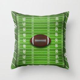 Football Field with Football Throw Pillow