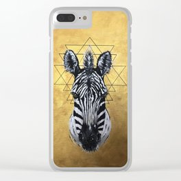 "The Zebra by Nirshay Chohen ""Golden edge"" Clear iPhone Case"