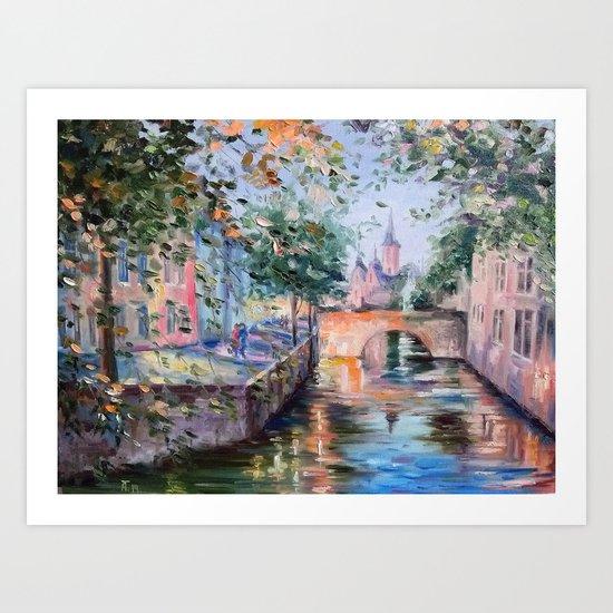 Town bridge Art Print