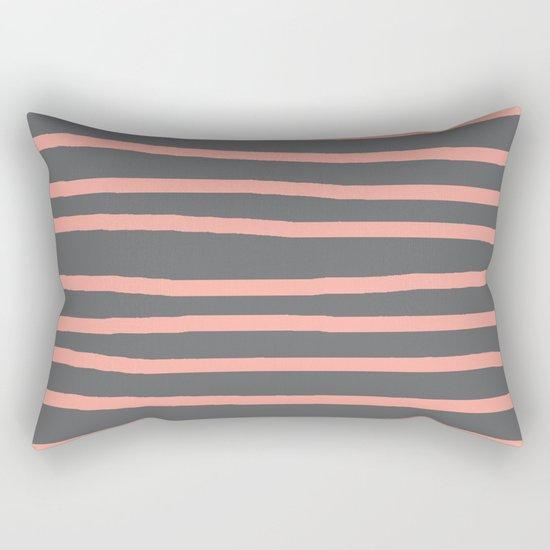 Simply Drawn Stripes Salmon Pink on Storm Gray Rectangular Pillow