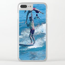 Mary & John Surfing #2 Clear iPhone Case