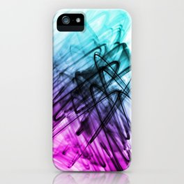 Aqua and Cerise Abstract Fluid Lines iPhone Case