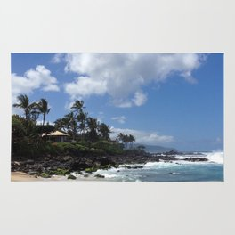 Stunning Beach and Cliffs with Waves Crashing Rug