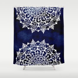 White Lace Medallion on Ink Blue Shower Curtain